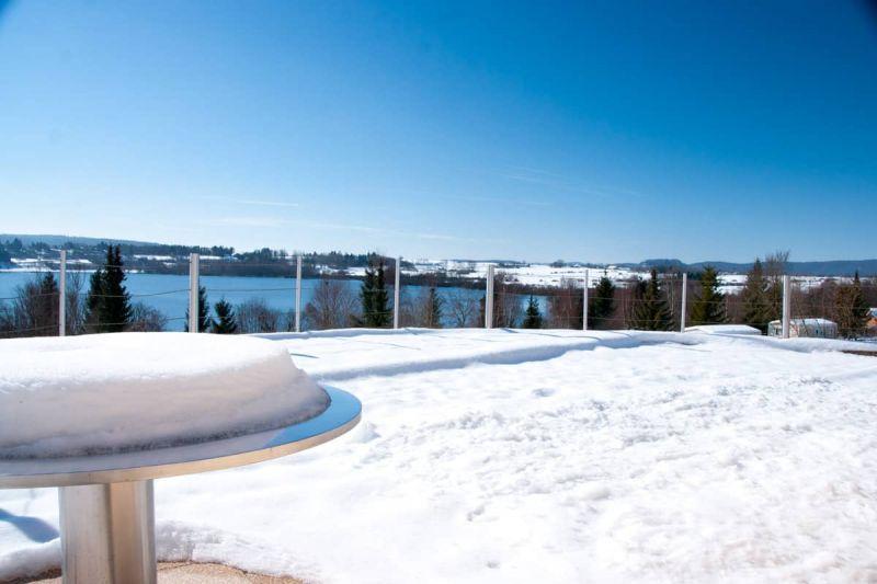 terrace winter lake chalain house location jura